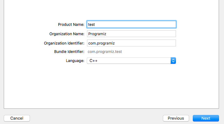 Choose C++ language in XCode