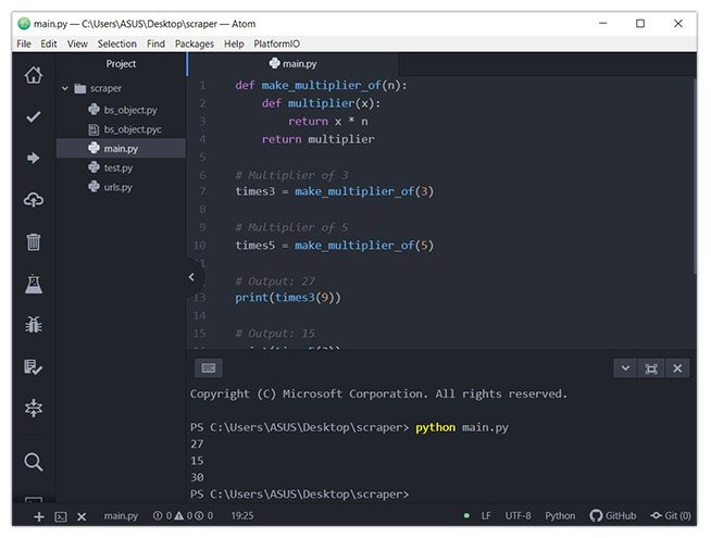 Atom for Python development