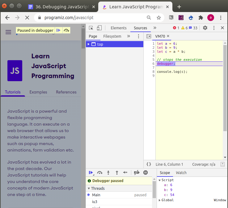 Working of debugger in the browser
