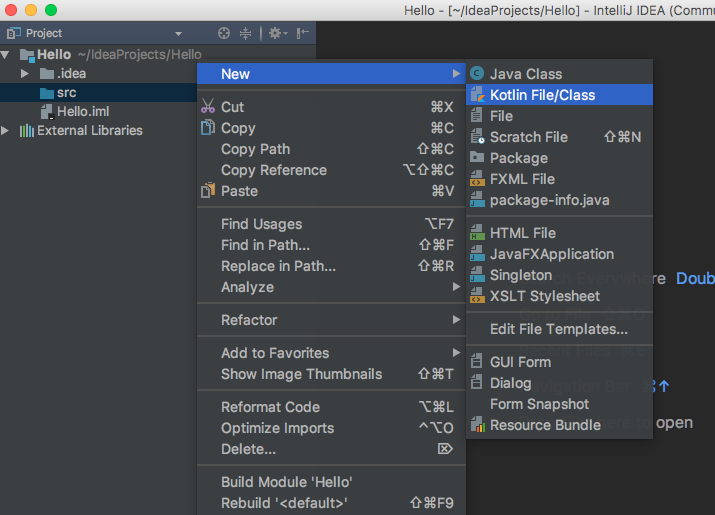 Create Kotlin file in intellij IDEA