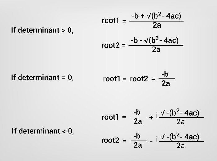 C++ Program to Find All Roots of a Quadratic Equation