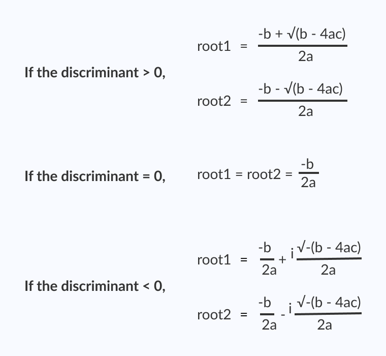 Formula to compute the roots of a quadratic equation