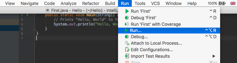 Run Java IntelliJ IDEA