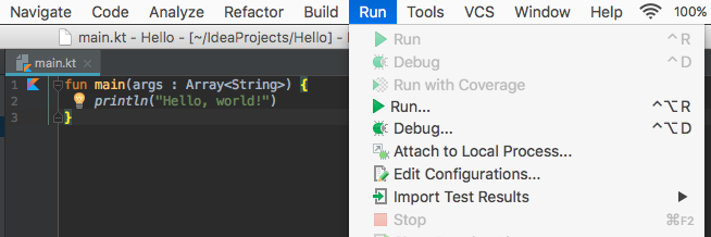 Run Kotlin in IntelliJ IDEA